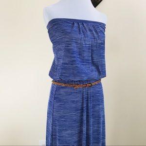 Cynthia Rowley Striped Mesh Strapless Dress Sz S